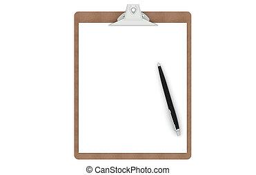 clipboard, s, jeden, čistý, noviny, a, pero
