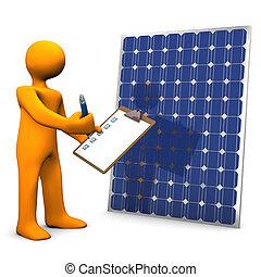 Clipboard Solar Panel - Orange cartoon character with...