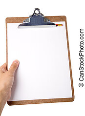 Clipboard - hand holding a Clipboard with white background