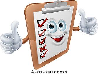 Clipboard survey mascot
