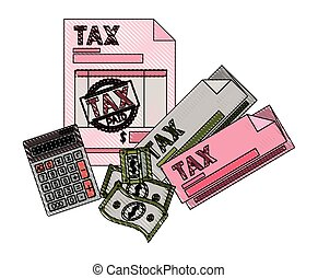 clipboard taxes with calculator and bills vector...