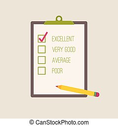 clipboard to the rating with check box and pencil. The...