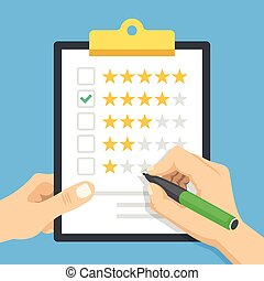 Clipboard with 4 stars rating. Hands holding pen and clipboard. Four stars check mark. Good customer service, positive review, good quality, evaluation concepts. Modern flat design vector illustration