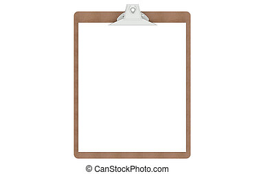 Clipboard with a blank paper, isolated on white