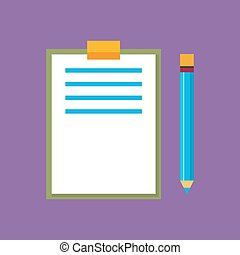 Clipboard with a Pencil Isolated