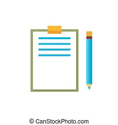 Clipboard with a Pencil Isolated on White