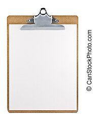 Clipboard with a sheet of paper isolated on white background...