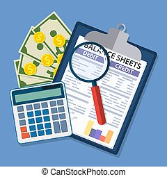 Clipboard with balance sheet and magnifying glass. Financial...