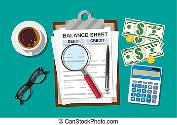 Clipboard with balance sheet and pen. Calculator money...