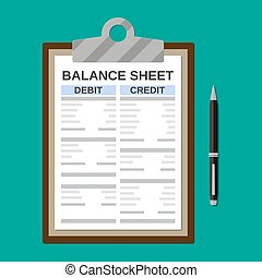 Clipboard with balance sheet and pen. Financial reports...