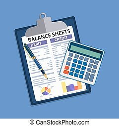 Clipboard with balance sheet and pen. Financial reports ...
