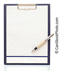 Clipboard with blank paper and pen on a white background