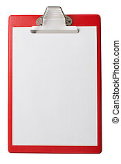 clipboard with blank paper sheet isolated with clipping path