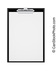 Clipboard with blank sheets