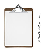 Clipboard with blank white paper shot on white background