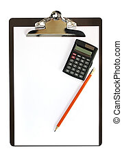 Clipboard with calculator and pencil