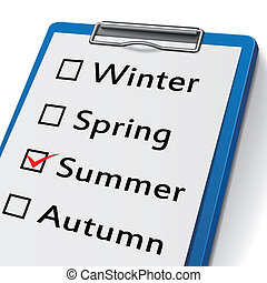 clipboard with check boxes marked for seasons