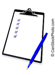 Clipboard with Checklist and Blue Pen