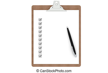 Clipboard with Checklist and Pen. Front view.