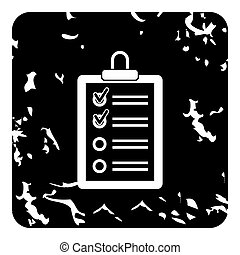Clipboard with checklist icon, grunge style