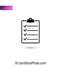 Clipboard with checklist icon isolated on white background. Vector