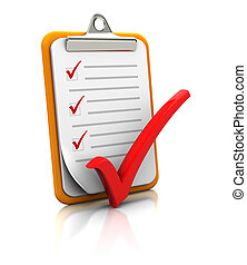 Clipboard with checklist on white background, 3d image