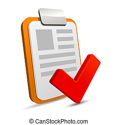 Clipboard with checklist on white background. .