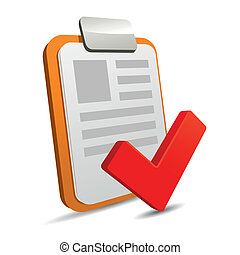 Clipboard with checklist on white background. Vector.