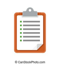 Clipboard with checklist. vector icon