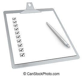 Clipboard with Checklist X 10 and Pen. Steel Edition