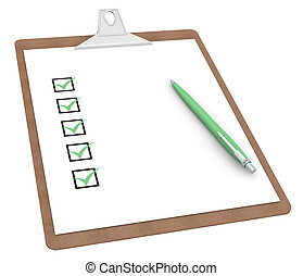 Clipboard with Checklist X 5 and Pen. Green color Side view.