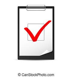 Clipboard with checkmark. Illustration of designer on white