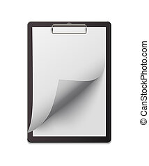 Clipboard with curved paper sheet. Vector design element.