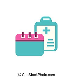 clipboard with document hospital and calendar reminder