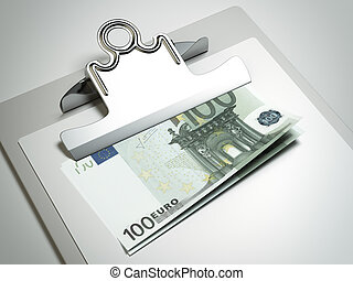 Clipboard with euro bills