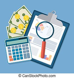 clipboard with financial reports and pen. - Spreadsheet...