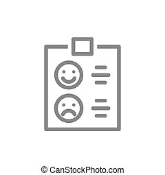 Clipboard with happy or sad face line icon. Checklist for evaluating service, tablet with rating, test symbol
