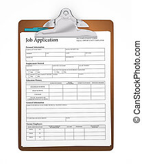 Clipboard with Job Application Form - Clipboard holding a...