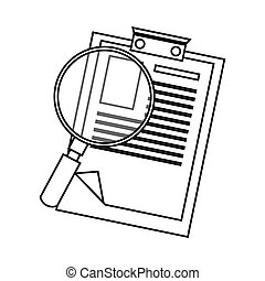 clipboard with magnifying glass