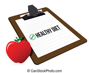 """clipboard with marked checkbox """"Diet"""" and apple illustration..."""