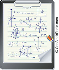 Clipboard with mathematics sketches - Clipboard with...