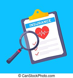 Clipboard with medical insurance claim form on it, paper sheets, pen isolated on blue background.
