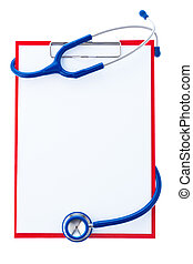 Clipboard with notes and stethoscope - A clipboard with ...