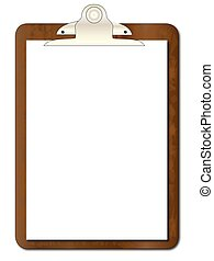 Clipboard with Paper - A worn clipboard with a sheet of...