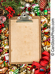 clipboard with paper for a letter. christmas background