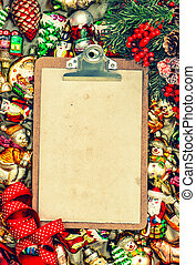 clipboard with paper for a letter. christmas background retro st