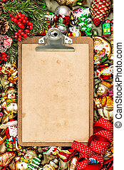 Clipboard with paper letter christmas decoration