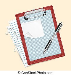 Clipboard with pen and paper clips