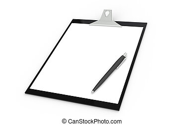 Clipboard with Pen, black and white. Isolated