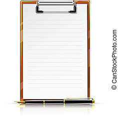 clipboard with pen vector illustration isolated on white...